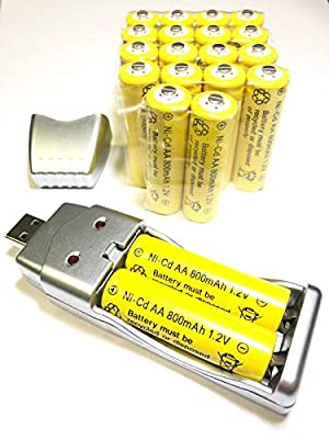 20x AA Solar Battery Batteries Bulk Rechargeable Ni-Cd 800mAh 1.2V + USB Charger