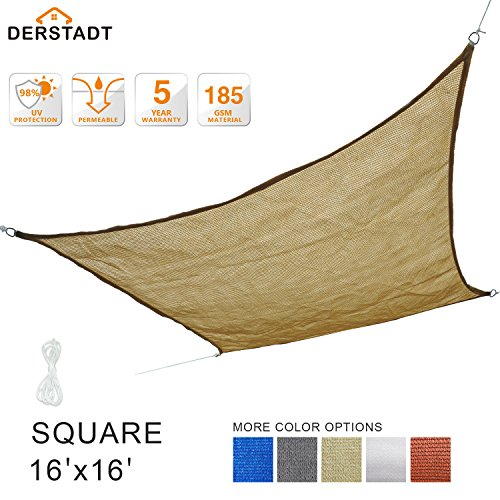 Derstadt 16' x 16' Square 98%+ UV Block Sun Shade Sail Top Quality Outdoor Patio Canopy Backyard Shelter (5 Years Warranty, 185GSM HDPE, 32.8'PE Rope) (Sand)