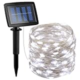 #4: AMIR Solar Powered String Lights 150 LED, 2 Modes Steady on/Flash Copper Wire Lights, Indoor/Outdoor Starry String Lights, Waterproof Solar Decoration Lights for Gardens, Homes, Parties (White)