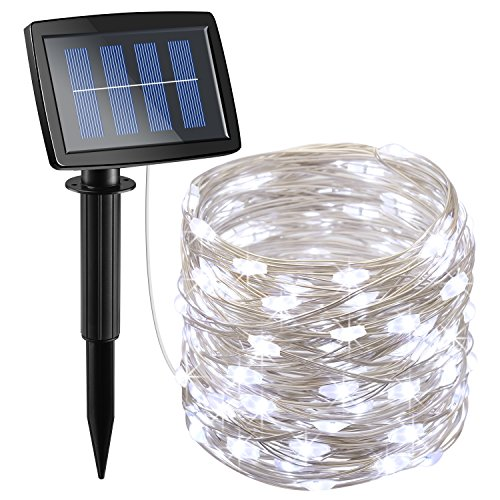 AMIR Solar Powered String Lights 150 LED, 2 Modes Steady on/Flash Copper Wire Lights, Indoor/Outdoor Starry String Lights, Waterproof Solar Decoration Lights for Gardens, Homes, Parties (White)
