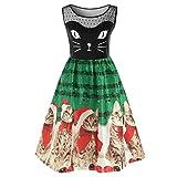 Weiyun Women Fashion Sleeveless Christmas Cats Musical Notes Print Vintage Flare Dress
