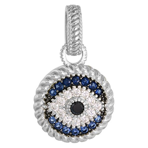 (Sterling Silver Evil Eye Necklace Micro Pave Synthetic Blue Sapphire & CZ, 18 inch LOP_25H)