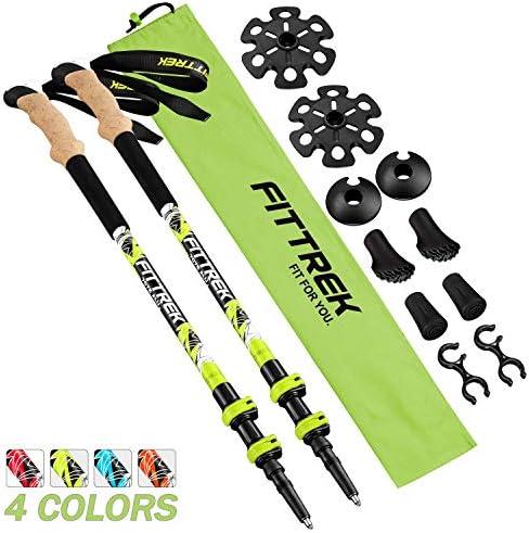 FitTrek Trekking Poles Adjustable – Lightweight Telescopic Walking Sticks – Ultralight Collapsible Hiking Poles for Climbing 2-pc Pack