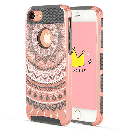 iPhone 6S Case/iPhone 6 Case,Rose Gold Cute Thin Soft Inner Silicone Bumper Hard Shell Solid PC Back,Durable iPhone Case iPhone 6S Cover Shockproof Protecive for Apple iPhone 6/6S Grils Flower Design