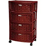 """Oriental Furniture 29"""" Natural Fiber Chest of Drawers - Mahogany"""