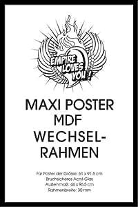Empire 319067 - Marco de madera DM para póster de 61 x 91,5 cm, incluye cristal de plastico de 30mm, 96,4x65,8 cm, color negro