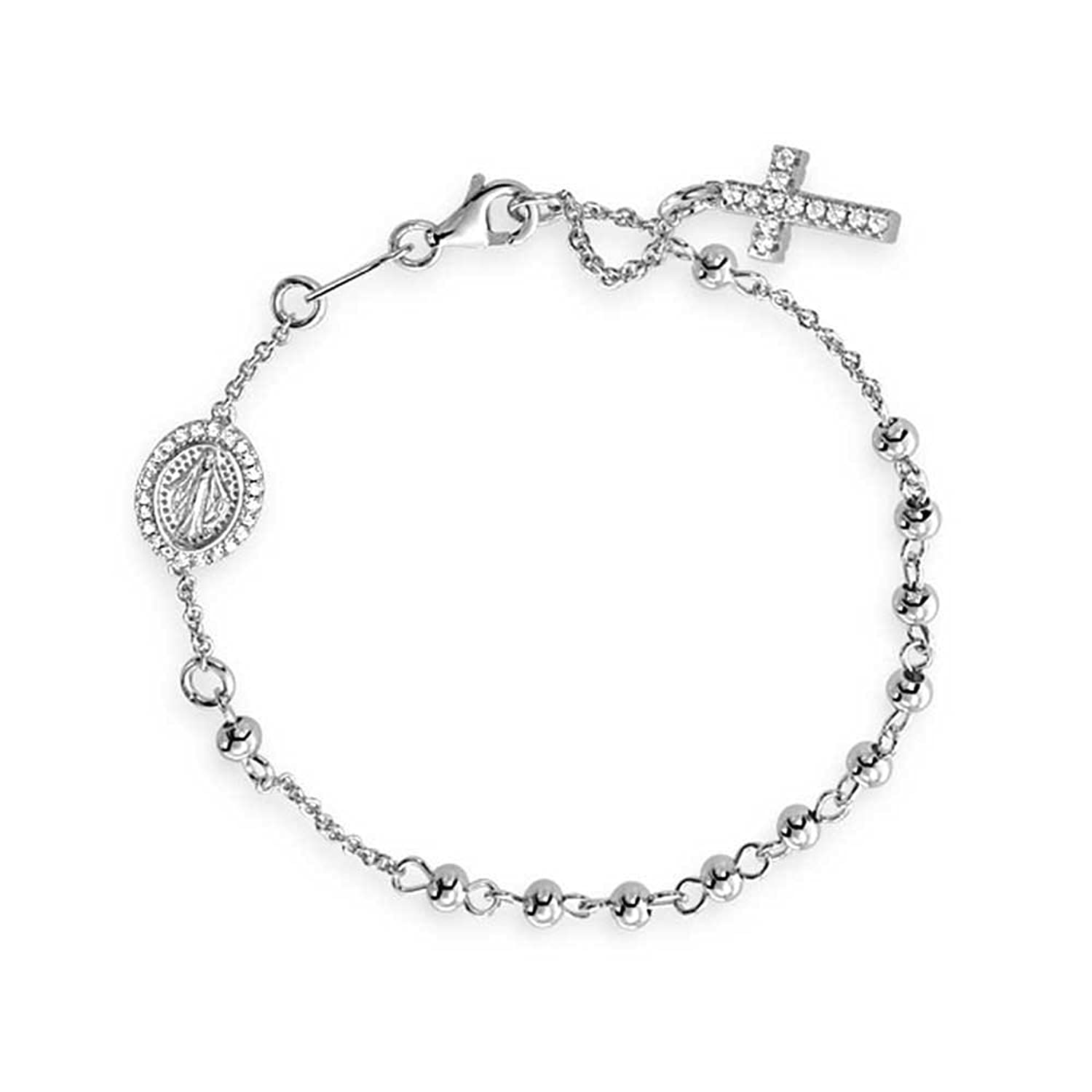 Bling Jewelry Sterling Silver Beaded Rosary Bracelet