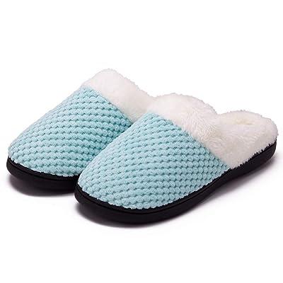 Women's Cozy Memory Foam Slippers Fuzzy Wool-Like Plush Fleece Lined House Shoes w/Indoor, Outdoor Anti-Skid Rubber Sole: Clothing