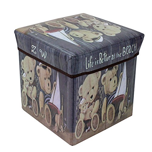 e Storage Ottoman with Printed Teddy Bear