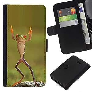 KingStore / Leather Etui en cuir / Sony Xperia M2 / Dansant Tropical Vert Ninja