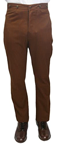 Victorian Men's Costumes: Mad Hatter, Rhet Butler, Willy Wonka Mens High Waist Chadwick Cotton Dress Trousers $56.95 AT vintagedancer.com