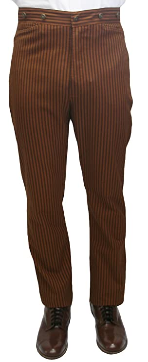 Victorian Men's Clothing, Fashion – 1840 to 1890s Historical Emporium Mens High Waist Chadwick Cotton Dress Trousers $56.95 AT vintagedancer.com