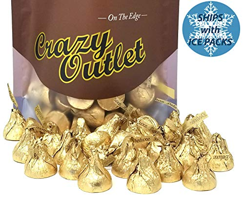 (CrazyOutlet Pack - Hershey's Kisses Deluxe, Milk Chocolate Whole Hazelnut Candy, Gold Foil Kisses, 2 lbs )