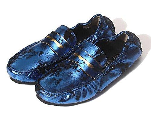 Happyshop (tm) Hommes En Cuir Mode Slip-on Mocassin Anglais Slacker Chaussures Plates Couleur Bleue