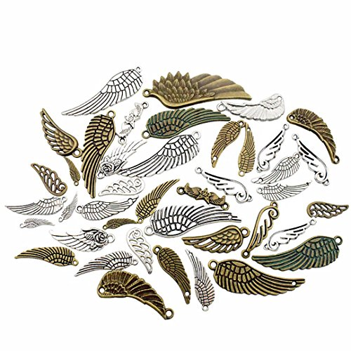 100g Wing Charms Collection - Mixed Antique Bronze Silver Angel Wing Good Luck Wing Bird Wing LOVE Eagle Wing Metal Pendants for Jewelry Making DIY Findings (HM19)