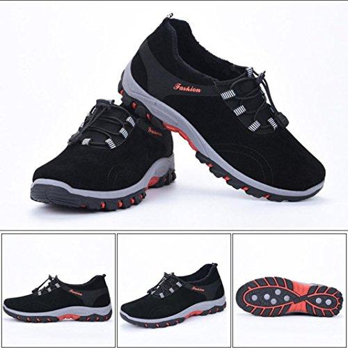 Zapatillas para Hombre,ZARLLE Zapatos De Invierno Casual Encaje hasta Zapatillas De Senderismo Zapatos De Viaje Acolchada Felpa Respirable Zapatillas ...