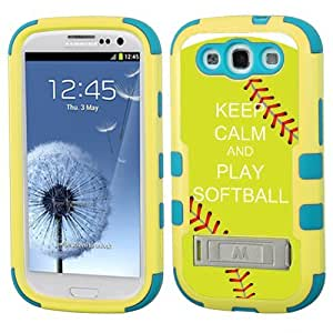 One Tough Shield ? Hybrid 3-Layer Kick-Stand Case (Yellow/Teal) for Samsung Galaxy S-III S3 - (Keep Calm / Softball Green)