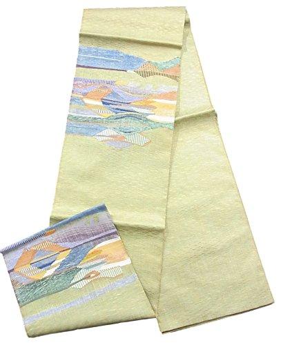 服を片付ける削るサンダーリサイクル 袋帯 正絹 お太鼓柄 紬 抽象模様 切りビロード
