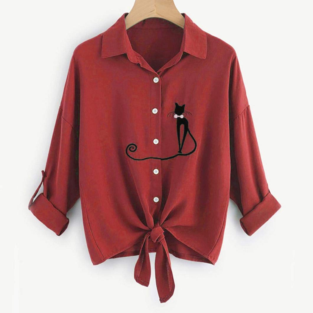 Amazon.com: Sale! Teresamoon Women Embroidered Cat Knotted Hem Shirt Long Sleeve Blouse Button Tops: Office Products