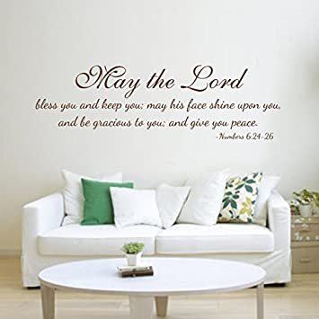 Bible Verse Wall Quotes Family Living Room Words Decoration Removable  Religious Decal Wallpaper May The Lord