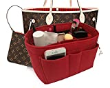 Felt Insert Fabric Purse Organizer Bag, Bag Insert In Bag with Zipper Inner Pocket Red M