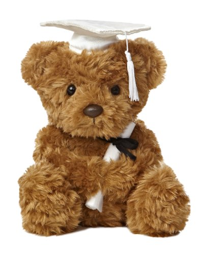 Aurora World Graduation Bear Plush, White Cap, 8.5""