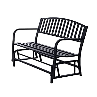 Outdoor Bench Glider Rocking Chair Garden Deck Furniture Backyard Loveseat/ Black #705a