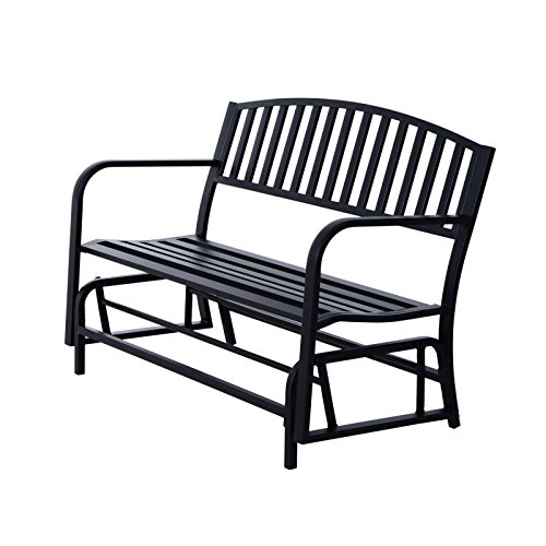 Koonlert@shop Outdoor Bench Glider Rocking Chair Garden Deck Furniture Backyard Loveseats/Black #705a (Outdoor Target Chairs Rocking)