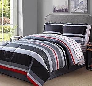 Amazon Com 8 Piece Boys Queen Rugby Stripes Comforter Set