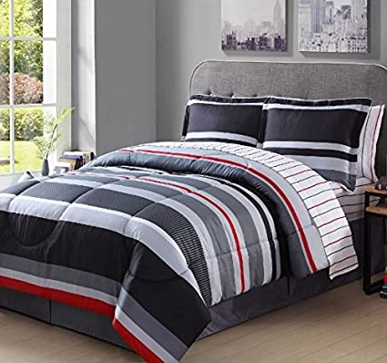 8 Piece Boys King Rugby Stripes Comforter Set, Gray White Grey Black Red Stripes  Bedding