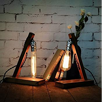 Amazing Loft Retro Wood E27 Edison Table Lamp Cafe Home Bar Decoration