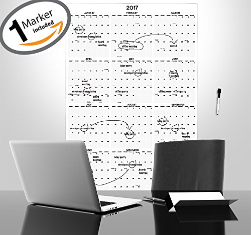 "2017 Yearly Calendar - 38"" x 26"" - Dry Erase Laminated Yearly Calendar - Annual Office Calendar - Academic College Dorm Wall Calendar - Vertical Custom Calendar - 12 Month Calendar Dated w/ Holidays"