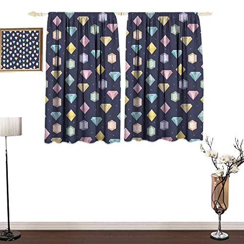 RenteriaDecor Colorful Modern Kids Curtain Graphic Gemstones with Different Shapes Trillion Drop and Marquise Cut Pattern Window Drapes for Bedroom W55 x ()