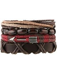 Mix 4 Wrap Bracelets Men Women, Hemp Cords Wood Beads...