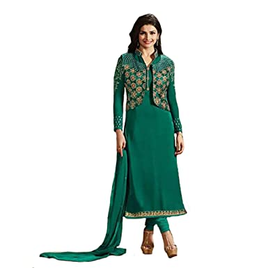 bb439f31fc Image Unavailable. Image not available for. Color: PRACHI DESAI INDIAN STRAIGHT  SALWAR KAMEEZ SUIT DUPATTA JACKET STYLE ...
