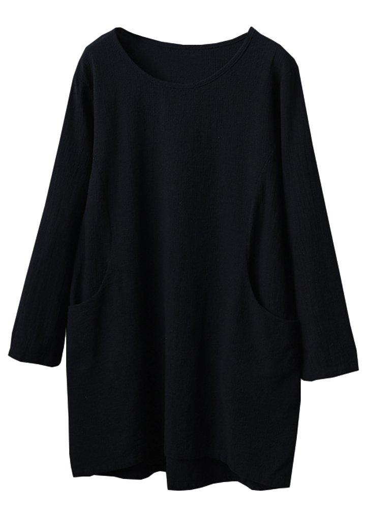 Minibee Women's Cotton Linen 4/5 Sleeve Tunic/Top Tees Black M