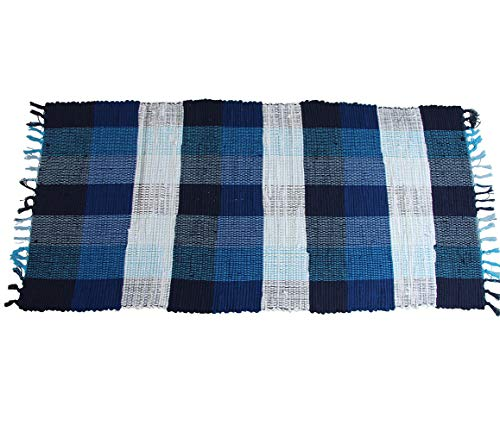 (Zeafeel Chindi Checkered Plaid Rag Rug, Machine Washable Cotton Reversible Rag Rug Hand Woven Multi Color Area Rug Floor Rugs Bedroom, Living Room, Kitchen Laundry Room (28'' x 55