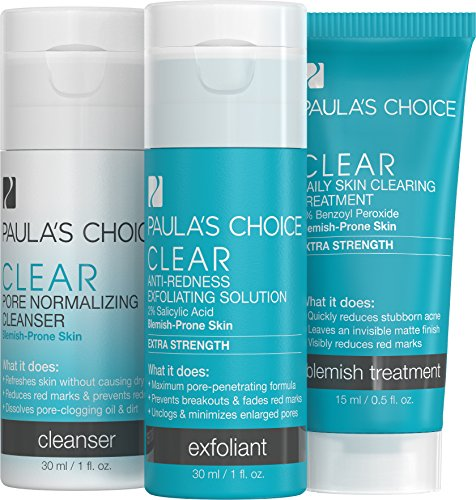 Paula's Choice--CLEAR Extra Strength Acne Travel Kit--2% Salicylic Acid & 5% Benzoyl Peroxide--for Severe Stubborn Acne and - Acne Prone Kit Skin