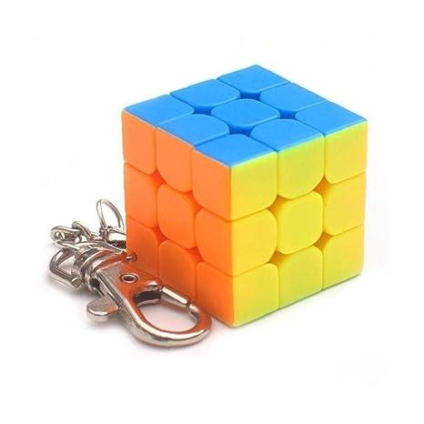 Mini Pequeño Cubo Mágico 3x3x3 Tercer Orden Cubo del Rompecabezas con La Cadena Dominante del Color del Caramelo