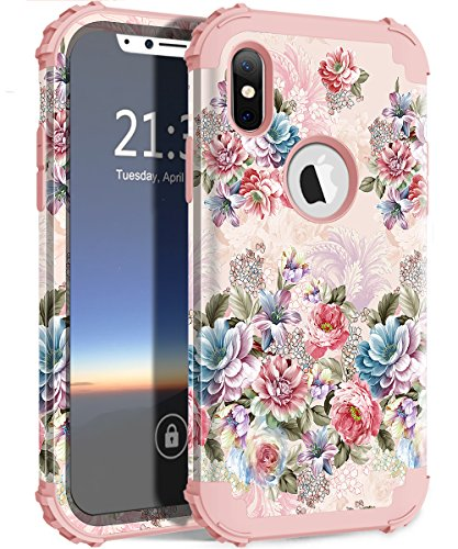 iPhone XS Case, iPhone X Case, Hocase Shockproof Protection Hard Plastic+Silicone Rubber Bumper Dual Layer Protective Phone Case for iPhone XS 2018/iPhone X 2017 - Peony Flowers/Rose Gold