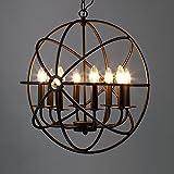 "Industrial Vintage Retro Pendant Light - LITFAD 21"" Edison Metal Globe Shade Hanging Ceiling Light Chandelier Pendant Lamp Lighting Fixture Black Finish with 8 Lights"