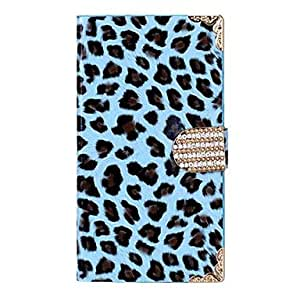 Mini - Leopard Print Design PU Leather and Plastic Full Body Case with Card Slot for Samsung Galaxy S4 I9500 ,Color: Blue