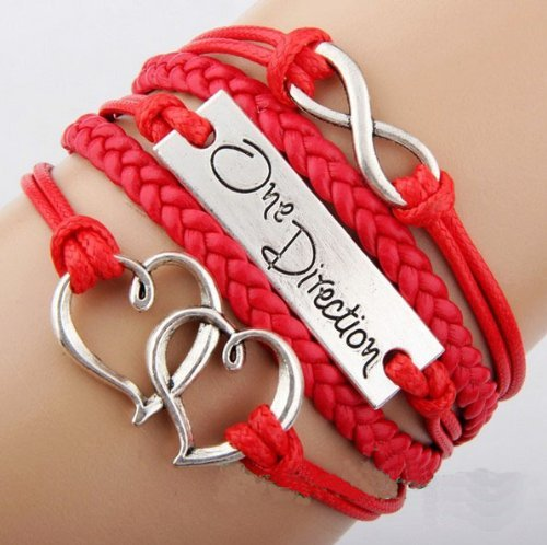 - JOVANA Antique Infinity Charm One DIrection Infinity HEART Braided Red cord Leather Mixed Bracelet Wristbands