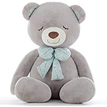 YXCSELL 35 Inches/90cm Gray Large Bow Tie Squinting Sleeping Bear Stuffed Giant Animals Teddy Bear