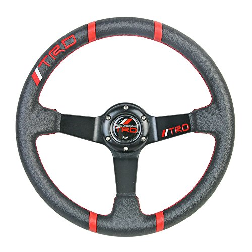 350mm TRD Style 3 Spoke PVC Leather Deep Dish Sport Drift Racing Steering Wheel