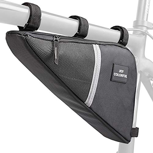 (JOY COLORFUL Bicycle Triangle Frame Bag, Waterproof Double Zip Bike Handlebar Bags, Pouch Under Seat PVC Front Tube Frame Bag with Large Storage for Mountain Cycling )