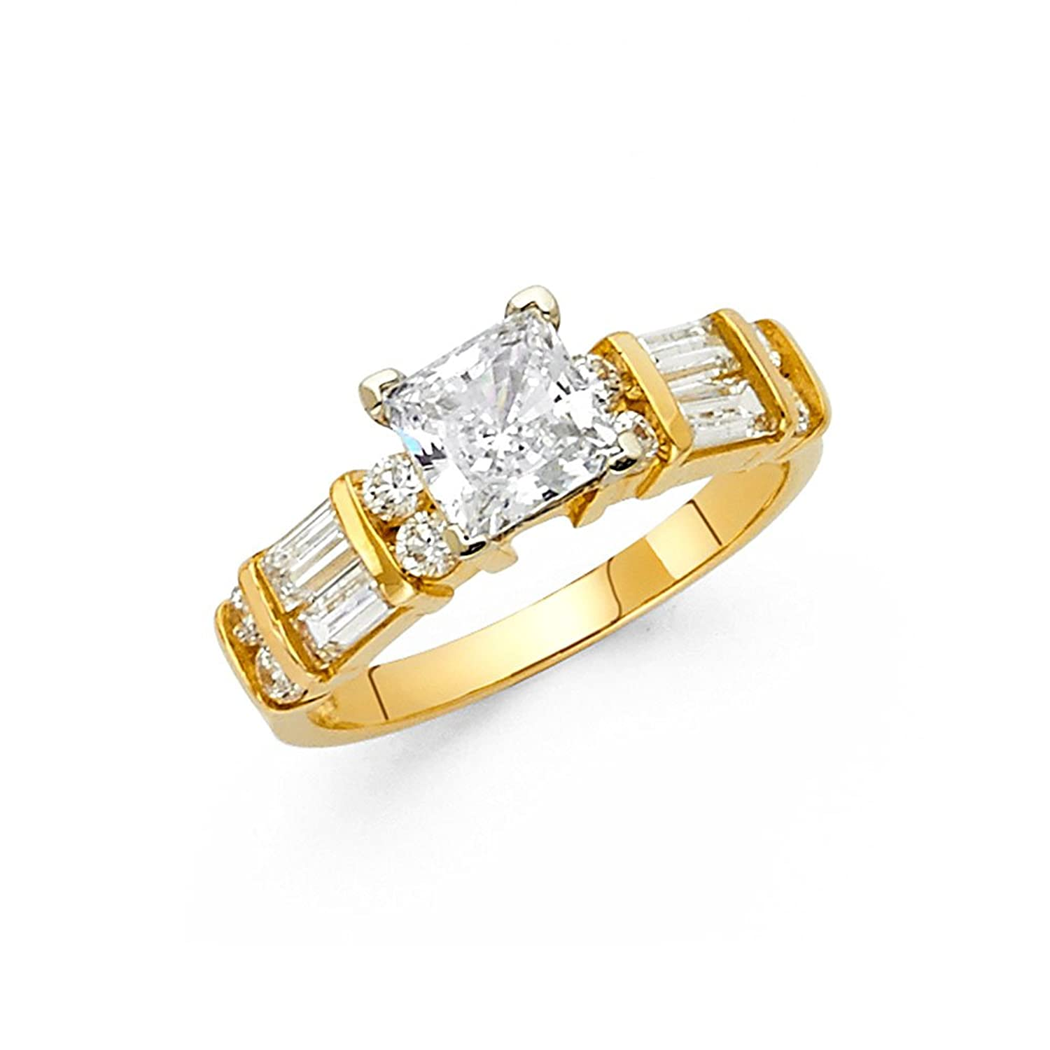 14K Yellow Gold SOLID Wedding Engagement Ring