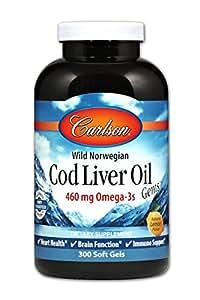 Carlson Cod Liver Oil, Lightly Lemon, 460 mg Omega-3s, 300 Soft Gels