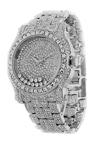 Totally Iced Out Pave Floating Crystal Silver Tone Hip Hop Men's Bling Bing - Iced Out Watch Tone
