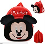Richy Toys Mickey Cute Teddy Velvet 10 Ltrs Red Soft Toy School Bag For Kids